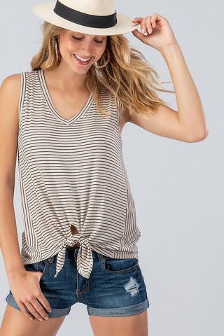 Striped Tie Front Tank Top