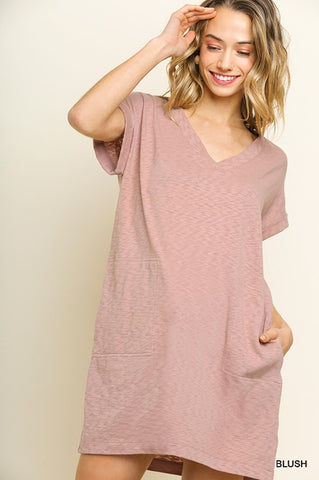 Blush Slub Vneck Pocket Dress