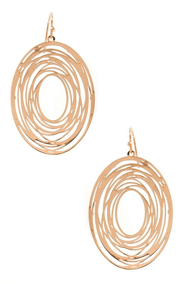 Rose Gold Oval Cutout Earrings