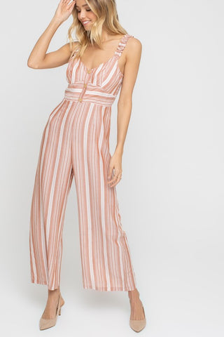 Striped Ruffle Strap Jumpsuit