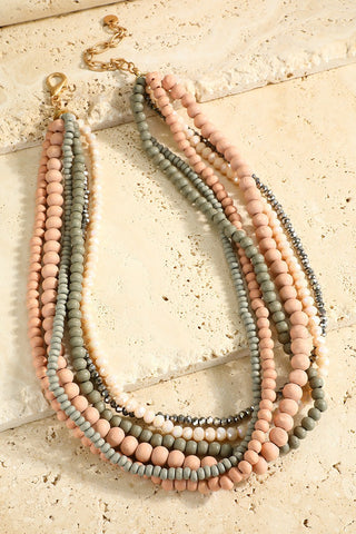 Blush & Sage Beaded Statement Necklace