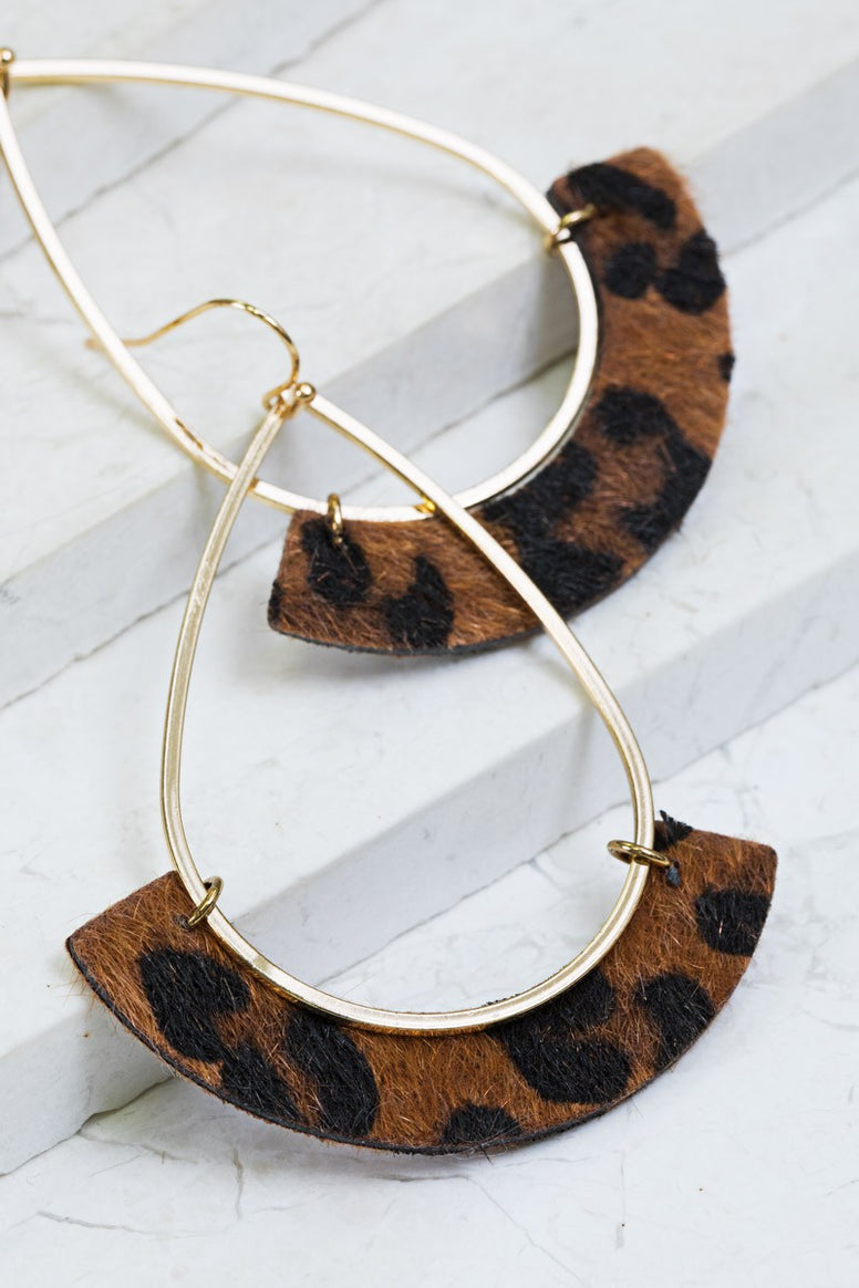 Leopard Crescent Earrings