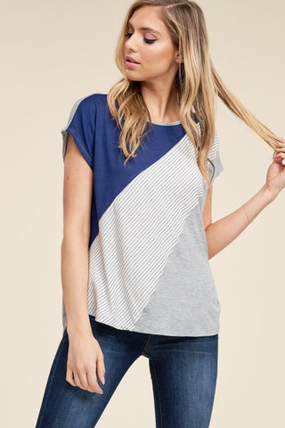 Navy Colorblock Top