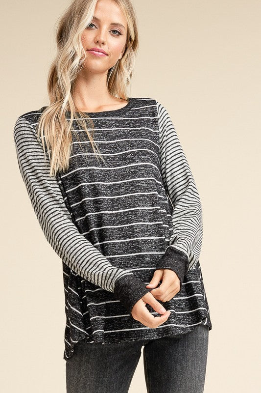 Striped Brushed Knit Top