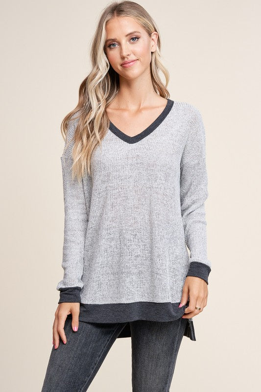 Grey Vneck Sweater