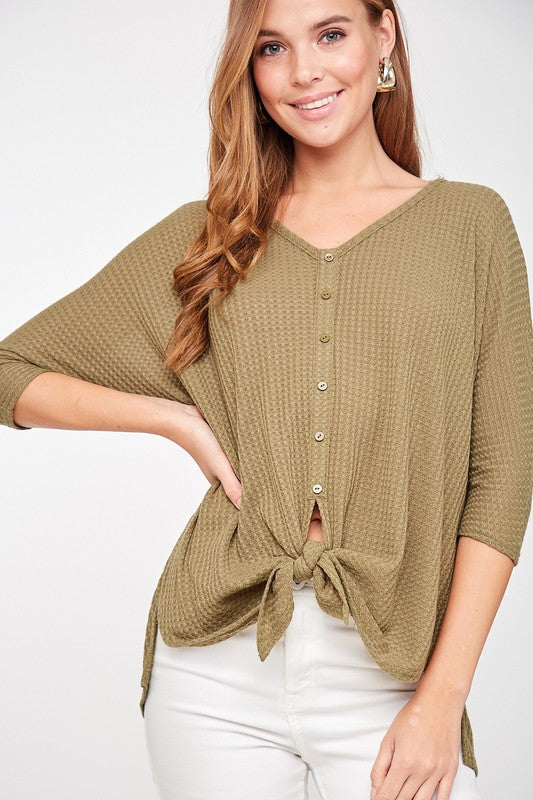 Olive Waffle Knit Button Down Top