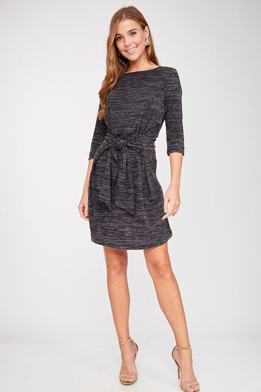 Charcoal Striped Tie Dress