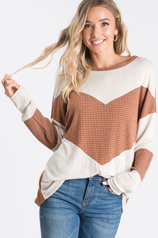 Thermal Chevron Knit Top