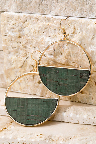 Semicircle Forest Green Cork Earrings