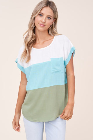 Mint & Olive Colorblock Top