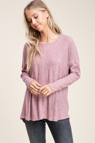 Plum Button Back Ribbed Top