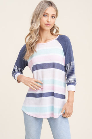 Striped Colorblock Knit Top
