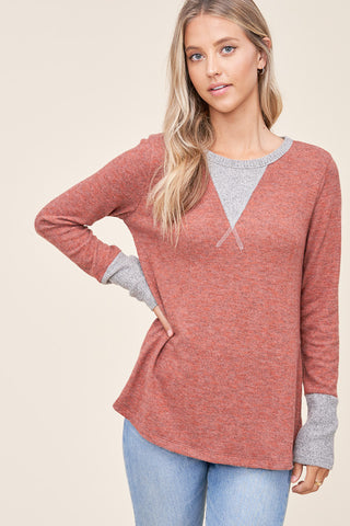 Rust Brushed Knit Pullover