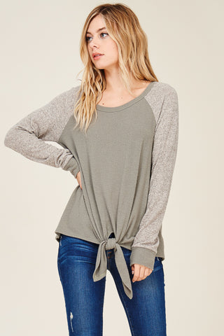 Knot Front Colorblock Sweater