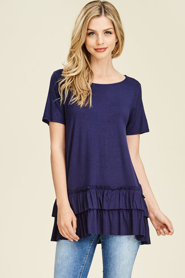 Navy Double Ruffle Hem Top
