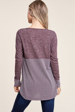 Brushed Colorblock Knit Top