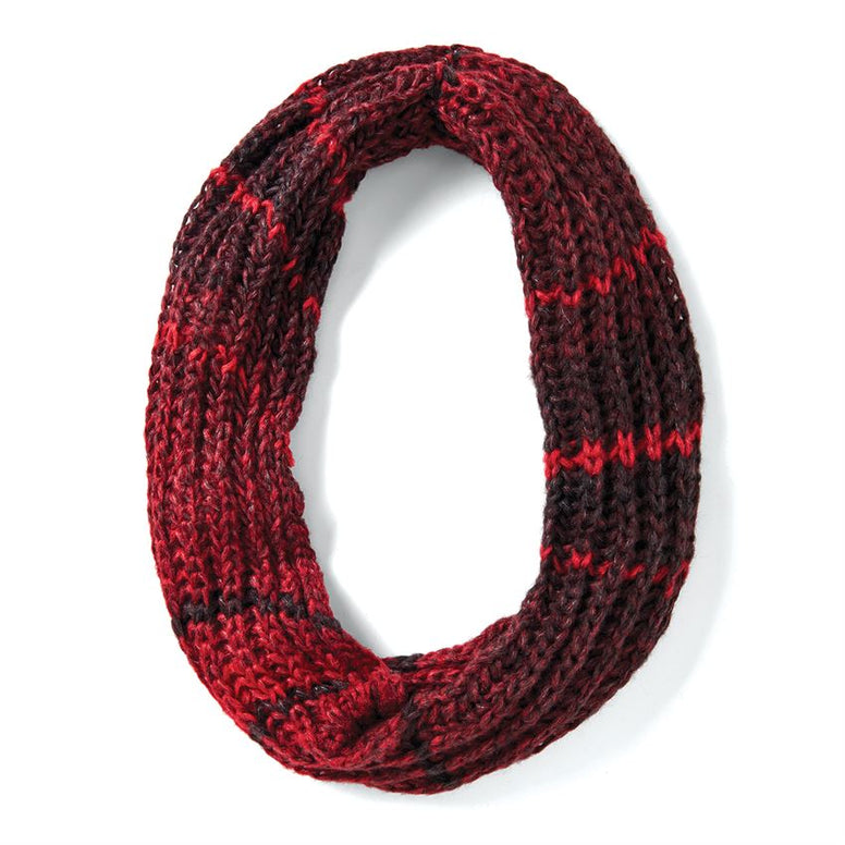Red & Black Cable Knit Infinity Scarf