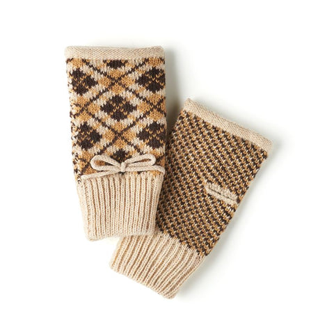 Brown Argyle Fingerless Gloves