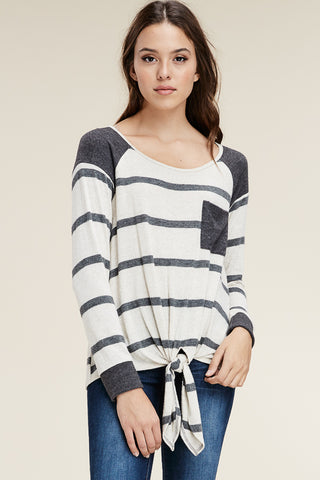 Grey Striped Front Tie Sweater