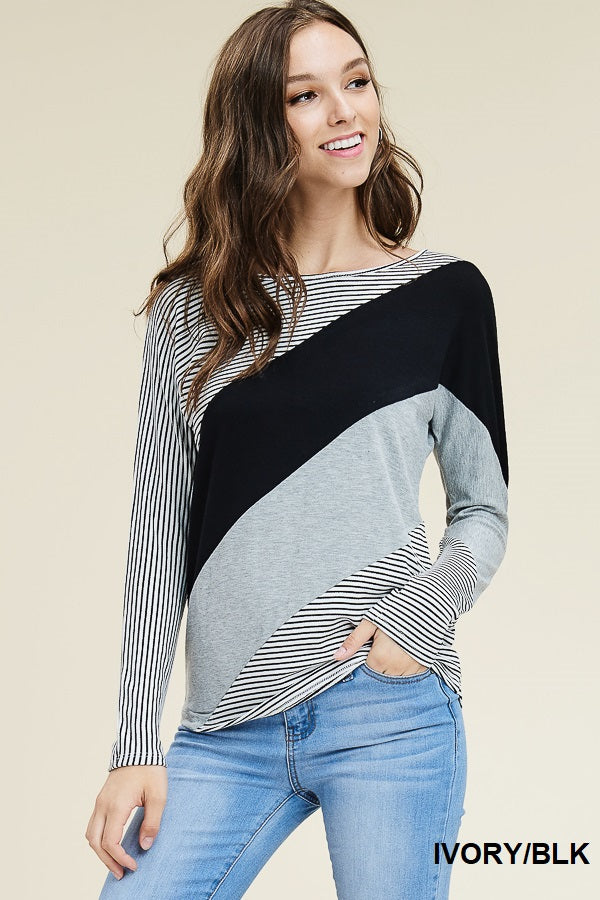 Diagonal Colorblock Top