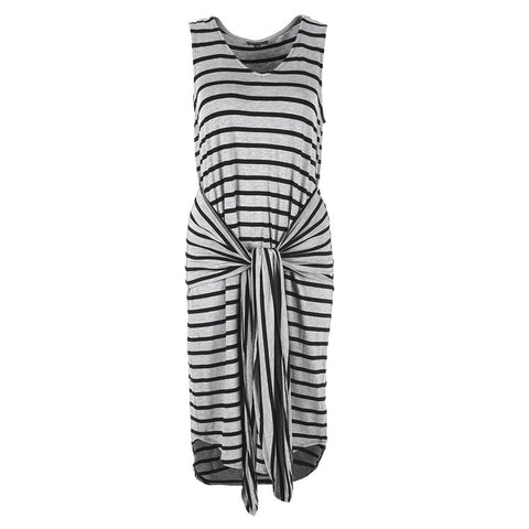 Black & Grey Tie Waist Tank Dress