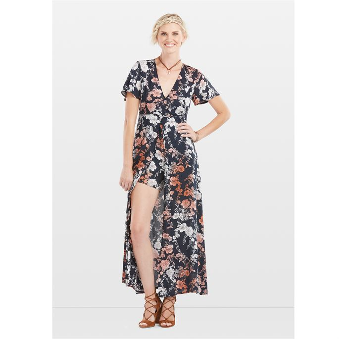 Adele Floral Skirted Romper