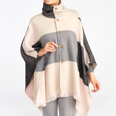 Rose & Gray Colorblock Cape Cardigan