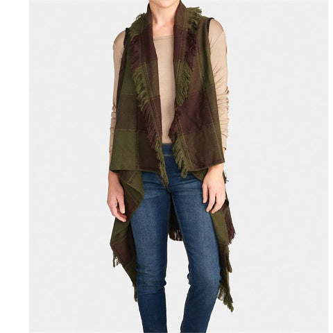 Olive & Brown Plaid Tiered Fringe Vest