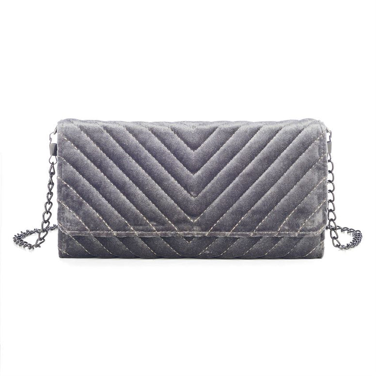 Quilted Velvet Crossbody Wallet