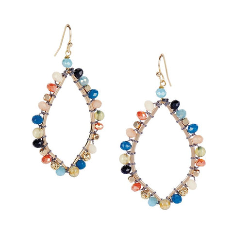 Multi Color Beaded Drop Earrings