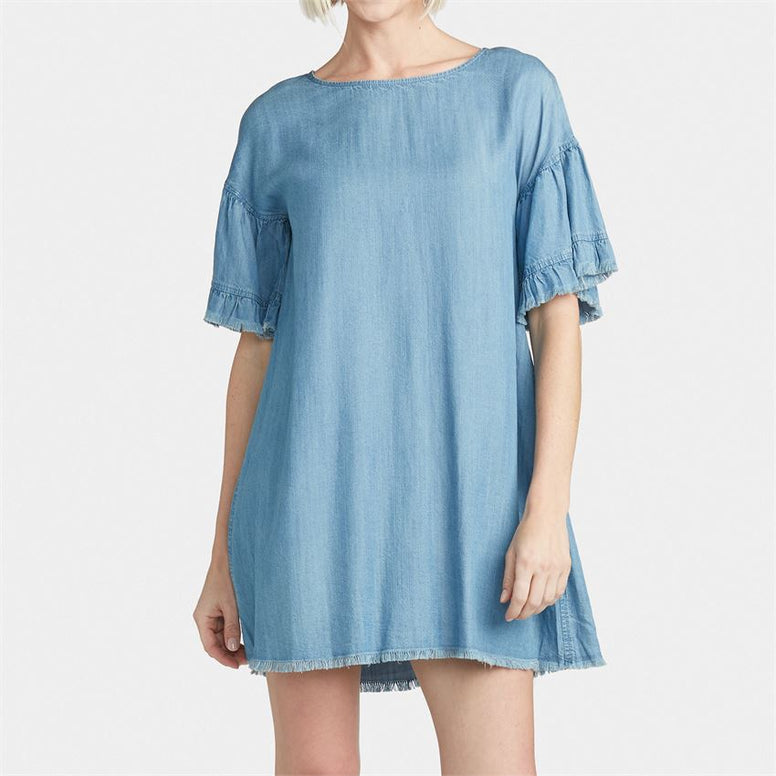 Denim Ruffle Shift Dress