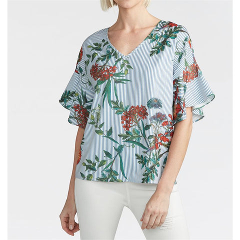 Ruffle Floral Tie Back Top