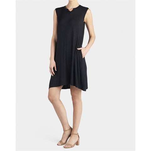 Sleeveless Split Neck Pocket Dress