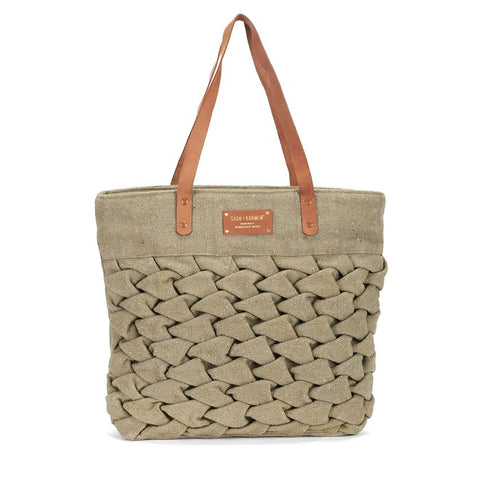 Olive Woven Market Tote