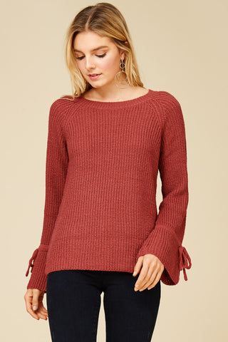 Bell Sleeve Crew Neck Sweater