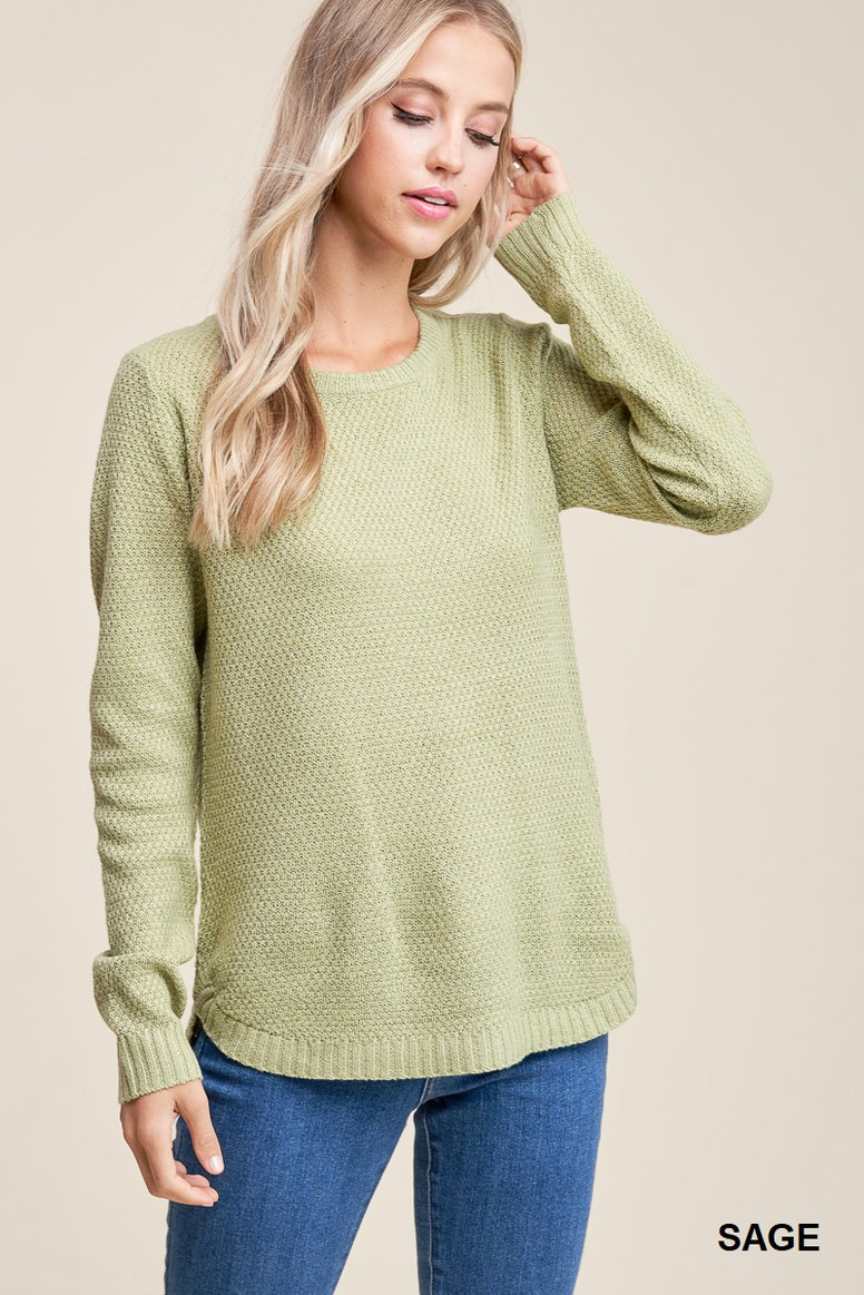 Sage Ribbed Crewneck Sweater