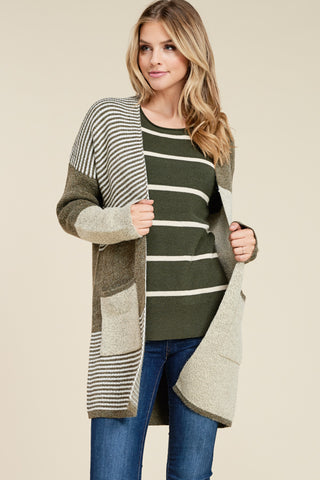 Olive Colorblock Sweater Jacket