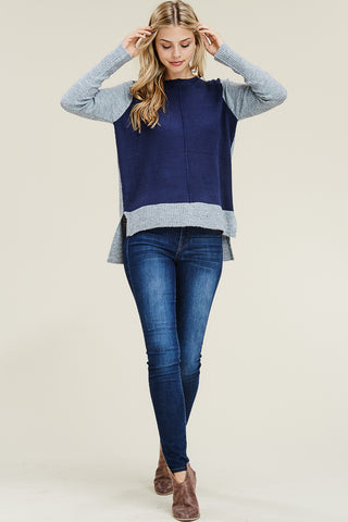 Navy & Grey Crewneck Sweater