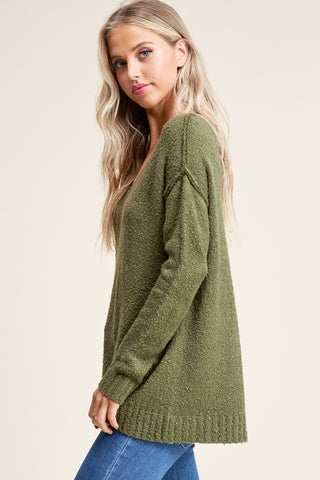 Olive V-neck Sweater