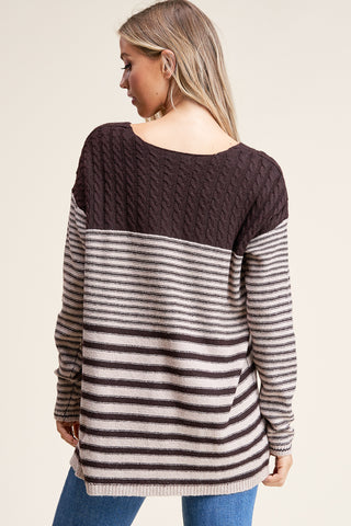 V-neck Cable Striped Sweater