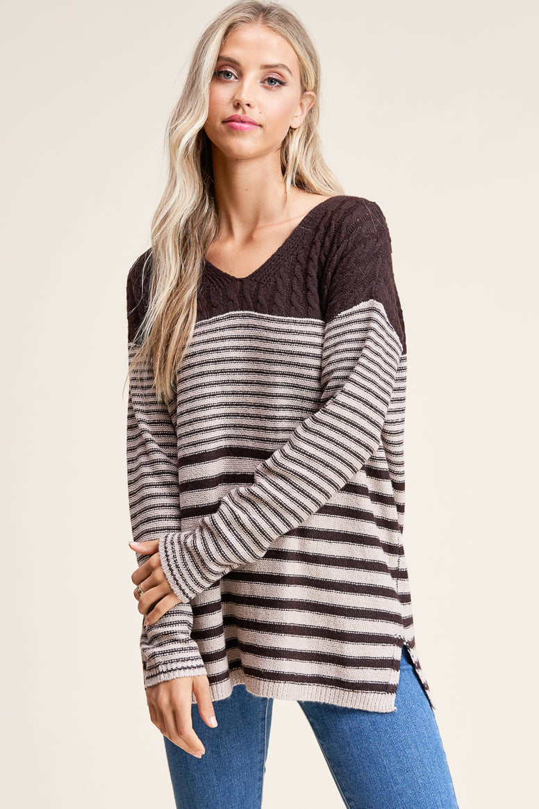 Cable Striped Sweater
