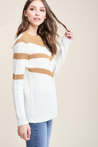 Chevron Mock Neck Sweater
