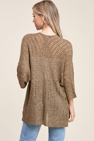 Pointelle Olive Sweater