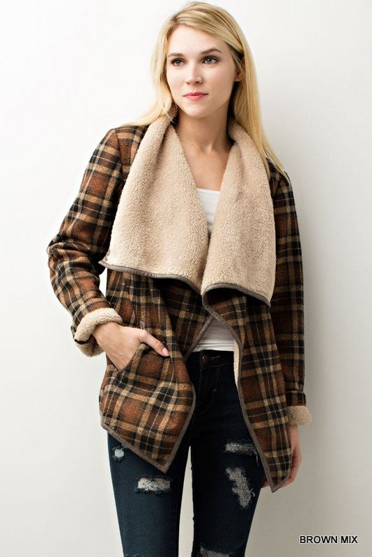 Plaid Fleece Lined Jacket