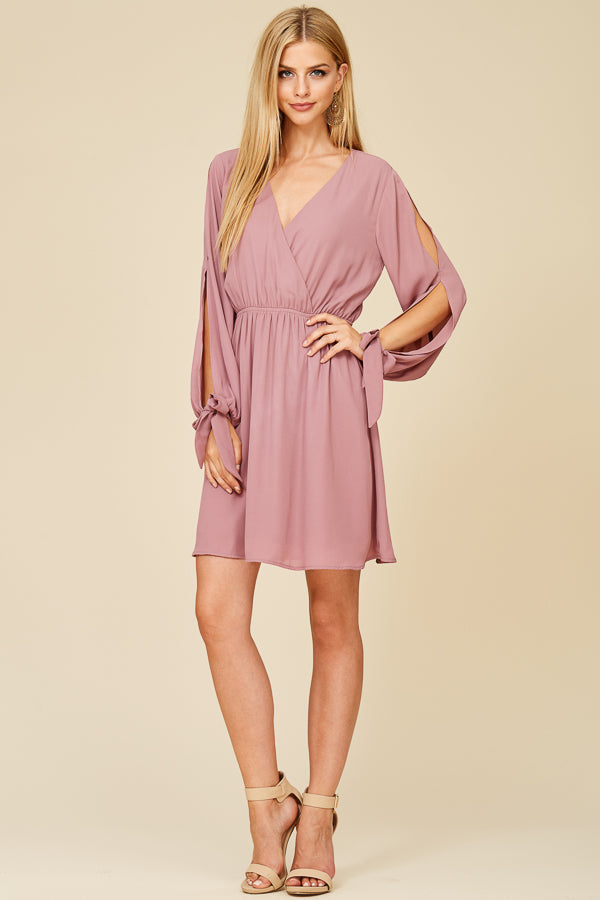 Mauve Cutout Sleeve Wrap Dress