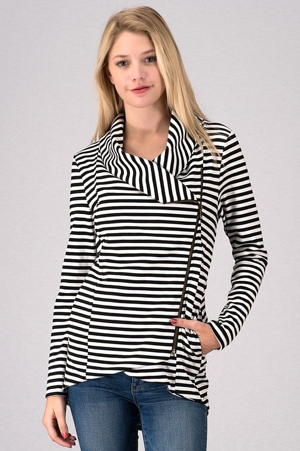 Striped Zip Up Jacket