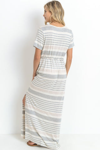 Striped Vneck Maxi Dress