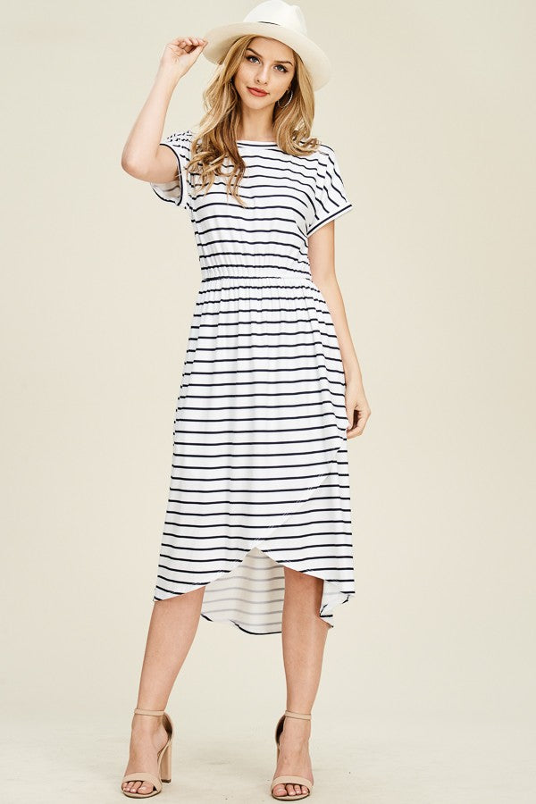 Striped Midi Wrap Dress
