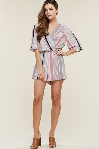 Striped Flutter Sleeve Romper
