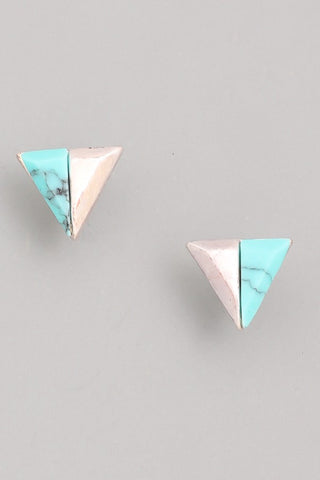 Two Tone Triangle Post Earrings